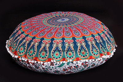 large floor pillows indian mandala round cushion covers pouf ottoman tapestry pillow case pillow. Black Bedroom Furniture Sets. Home Design Ideas