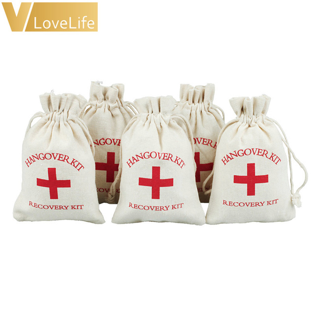10pcs Hangover Kit Bags Bachelorette 4 X 5 Cotton Gift First Aid Wedding Favor