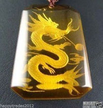 Un X61 exquisito raro citrino tallado collar colgante de dragón