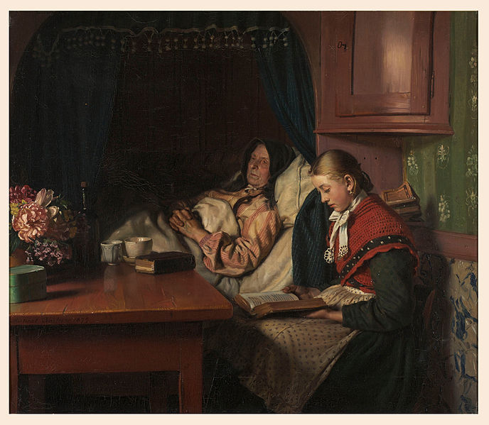 canvas art prints stretched framed giclee world famous artist oil painting michael ancher by grandmothers sickbed