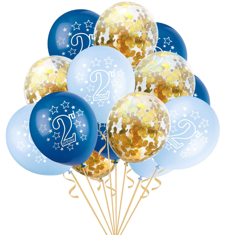 15 Pcs Cute Baby 2nd Birthday Latex Confetti Inflatable Air Balloons