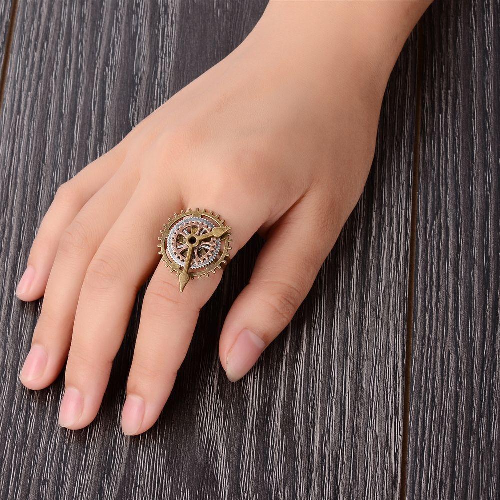 Handmade Punk Style Alloy Metal Steampunk Standard Gear Open Ring Unisex Jewelry