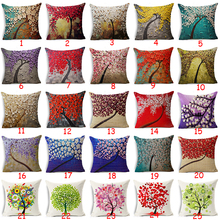 Oil Painting Style  100% Flax Colorful Trees Flowers Simple Shape Pillows Cover Nordic Simple Brand Pillow simple rhombus pattern square shape flax pillowcase without pillow inner