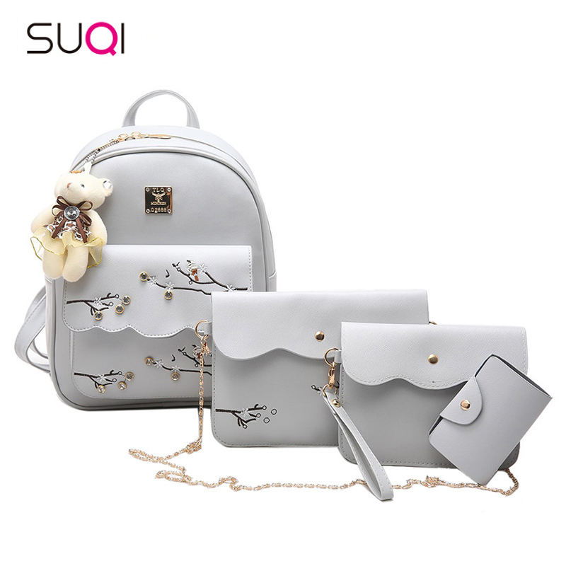 SUQI Women Backpack New Backpack Leisure Fashion All-match Pu Simple Student Bag the new spring and summer 2017 singles simple japanese variety diagonal bag bag leisure all match original bag