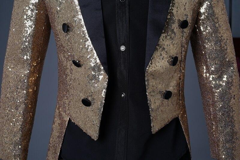 Image 5 - PYJTRL 2018 Men Gold Silver Red Blue Black Sequin Slim Fit  Tailcoat Stage Singer Prom Dresses Costume Wedding Groom Suit Jacket-في  السترات من ملابس الرجال على