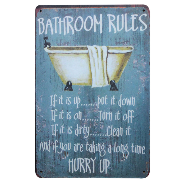 Rule Metal Signs Home Decor Vintage Tin