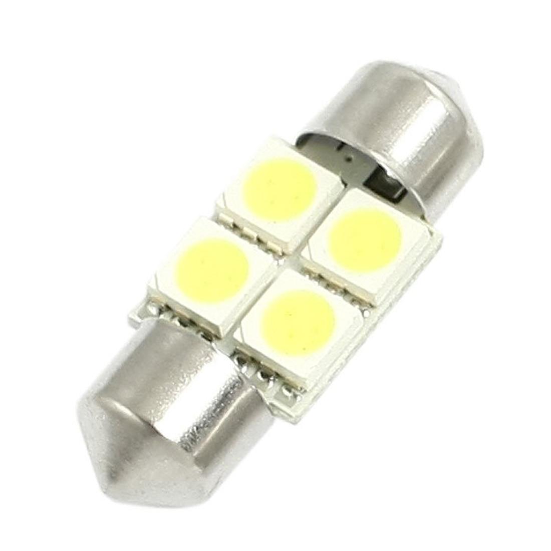 DC 12V 30mm 4 5050 SMD Car Dome Festoon LED Light White 2 Pcs 3156 12w 600lm osram 4 smd 7060 led white light car bulb dc 12v