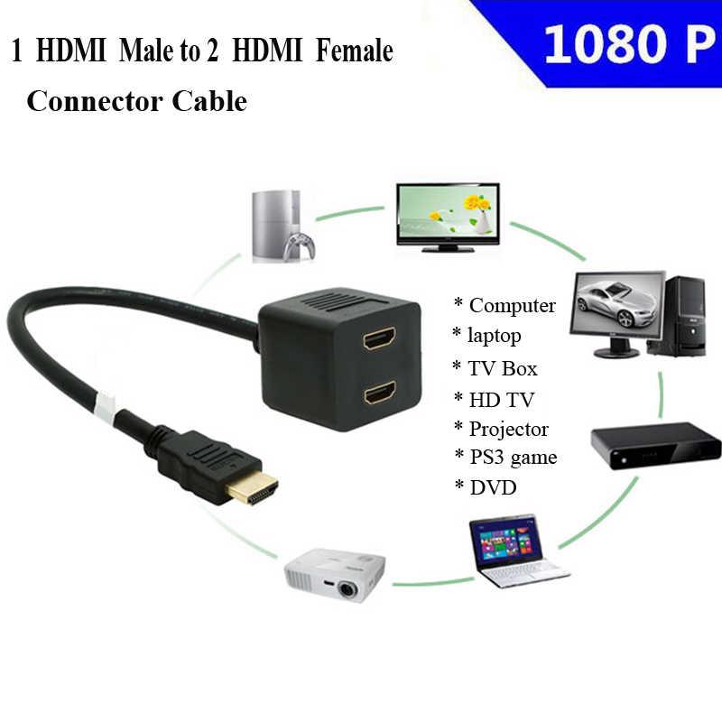 Doitop 1080 P HDMI Port 1 Di 2 Keluar Splitter Kabel Adaptor 1 HDMI To 2 HDMI Audio Vedio Converter kabel untuk PS3 DVD TV PC #3