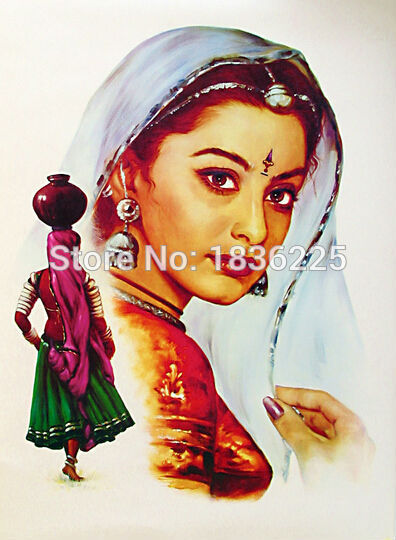 Us 144 0 50 Off Art Painting On Canvas For Sale India Painting Face Paint Woman Oil Painting On Canvas Wall Painting Canvas For Wall Decoration In
