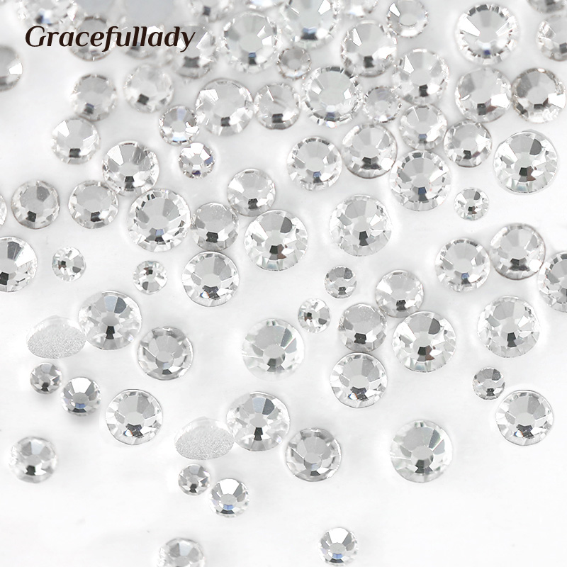 Luxury Crystal Clear ss3-ss40 Glass  Nail Art Rhinestones For Nail Art Charms 3D Decoration Non hotfix Flat Back Stones 1728pcs clear crystal ab ss3 to ss10 mini sizes nail art non hotfix crystal glass rhinestones nail decoration