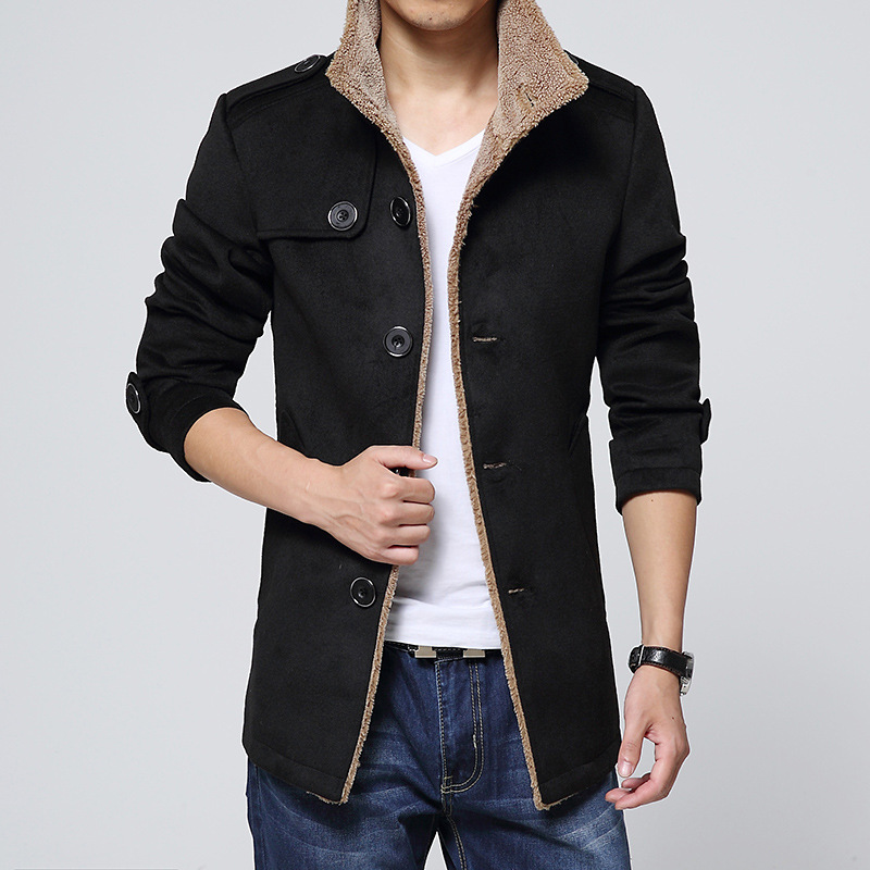 XingDeng Men warmth windproof Jackets And Coats Long Wool no cap pocket Slim Fit Windbreaker High Quality   Trench   Coat Plus Size