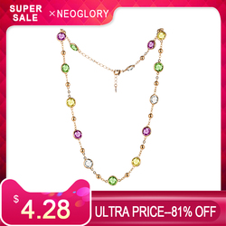 Neoglory Crystal Colorful Round Beads Long Charm Necklace Classic Two Uses Dress Party Embellished With Crystals From Swarovski