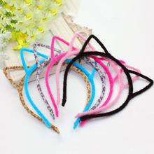 New Hair Accessories Cute Cat Ear With Cloth Sexy scrunchy Headband With Plastic Inside Cute Girls Headband Hair Band