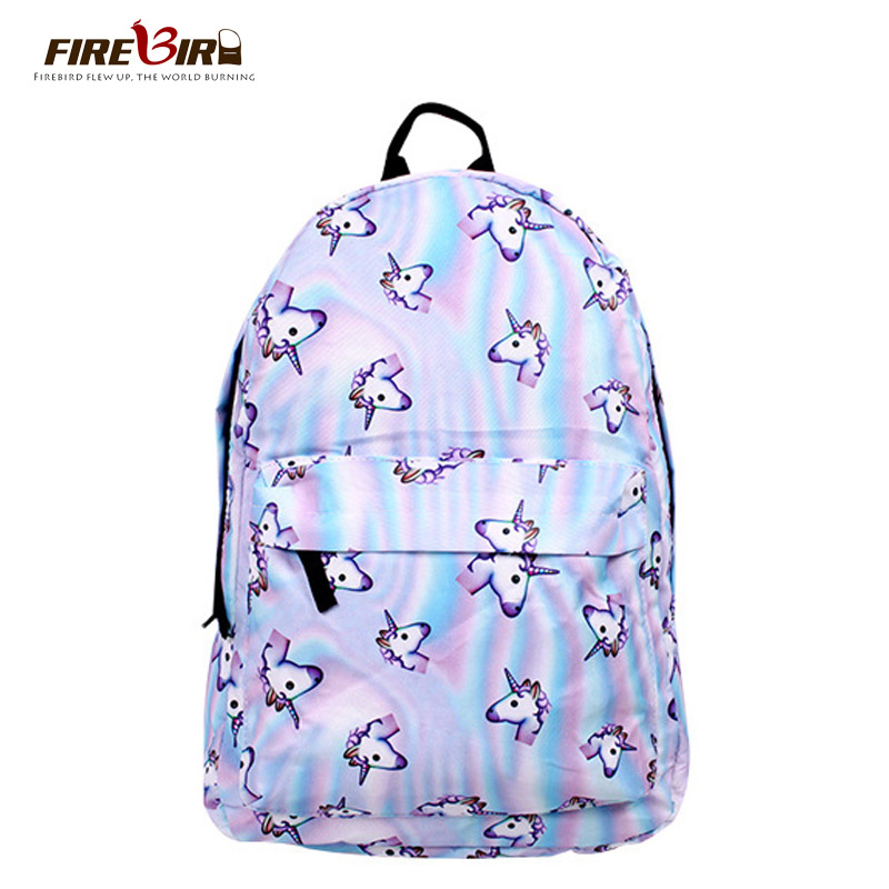 Printing Unicorn Backpack Canvas With Zipper Youth Schoolbags Shoulder Bag Unicorn Bag For Girls Boys Teenagers FN487