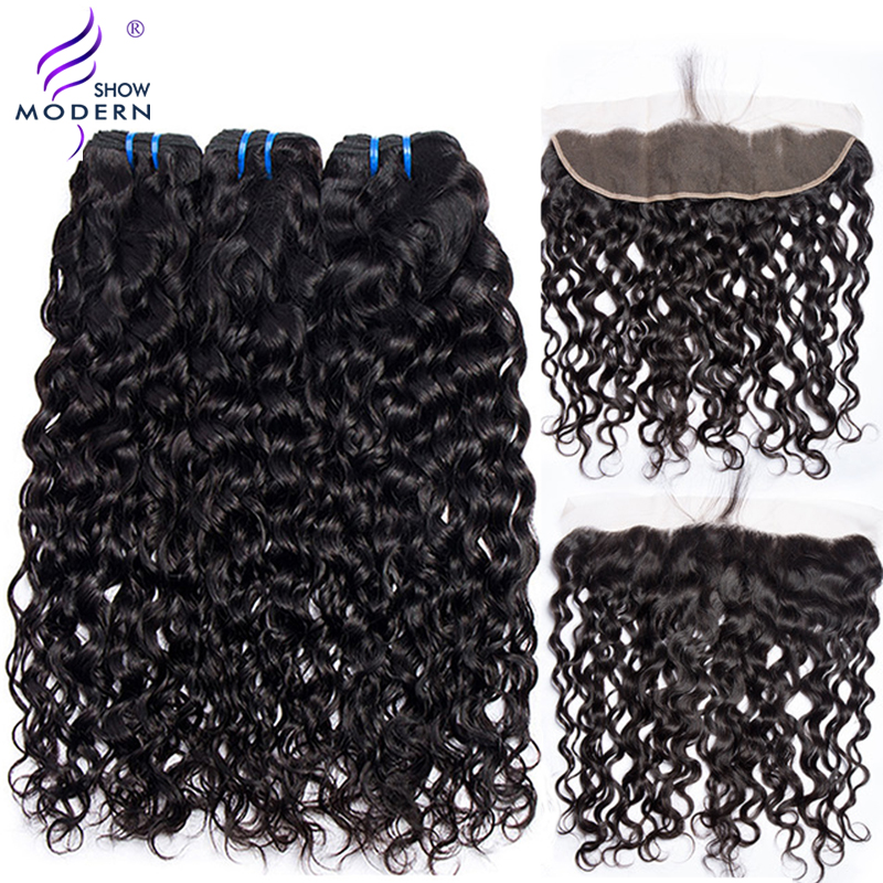 Water Wave Bundles With Closure 3 Bundles Brazilian Hair Weave Non Remy Human Hair Lace Frontal