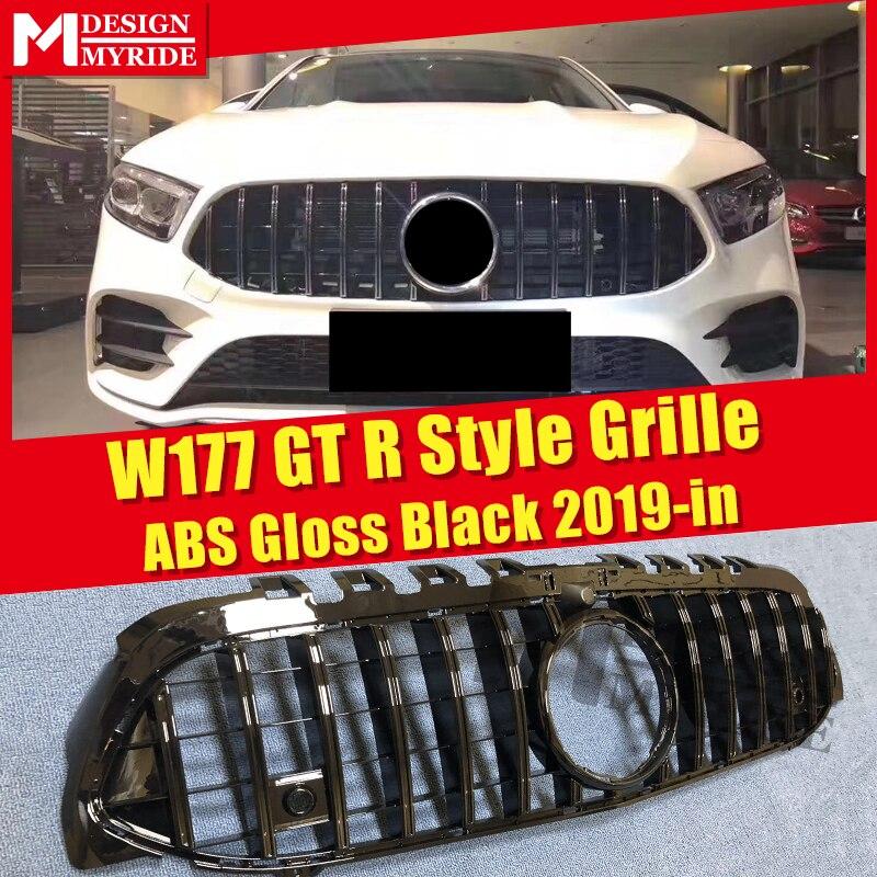 W177 calandre style GTS avec caméra ABS brillant noir pare-choc avant maille pour Sports W177 A180 A200 A250 grilles sans emblème 2019 +