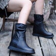 Artmu Original 2019 New Leisure Boots Height Increasing Leather Martins Comfortable Handmade Black Womens 6631