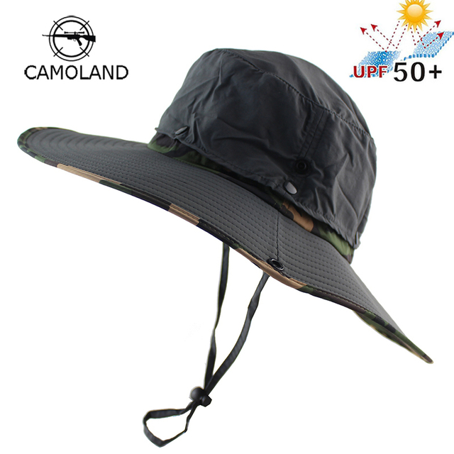 528fef35b85 UPF 50+ Water Resistant Breathable Long Wide Brim Bucket Hat Men Women  Boonie Hat Summer UV Protection Army Camo Sun Hat Fishing