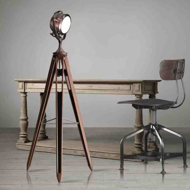 Vintage floor lamps tripod lamp loft machinery industry for Cheap tripod lamp
