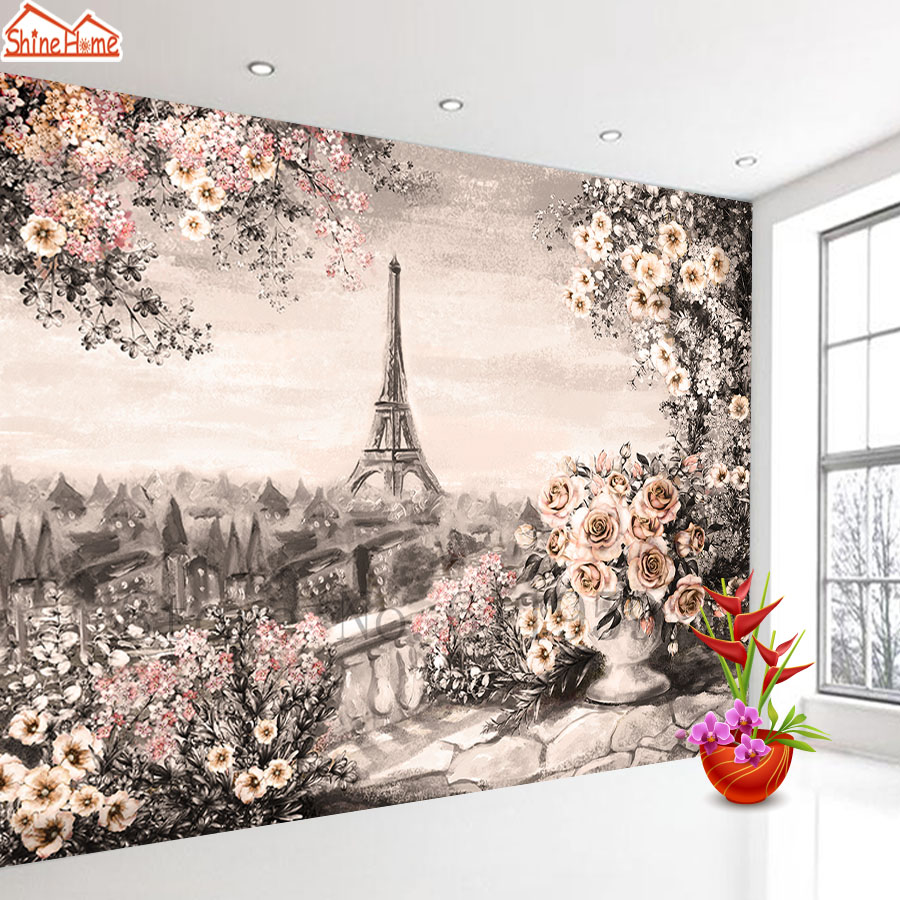 3d Photo Mural Wallpaper Nature For Kids Living Room Wall Paper Wallpapers Papers Home Decor Papel De Parede Eiffel Tower Rose