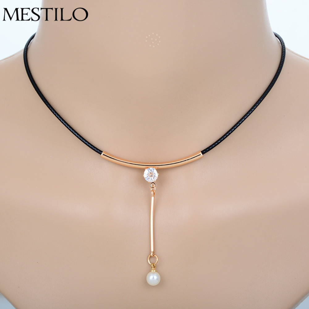 Gold Color Simulated Pearl Rhinestone Pendant Round Faux Leather Short  Choker Necklace Gothic Punk Rope Necklace