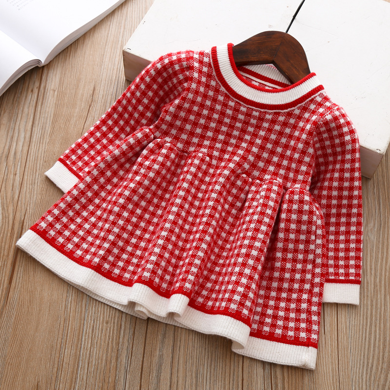2020 Autumn Winter Baby Long Sleeve Plaid Sweater Dress For Baby Girls 1 Year Birthday Dress Infant Baby Wedding and Party Dress 3