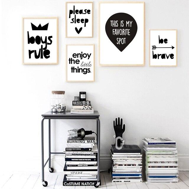 Letras minimalistas cuarto lienzo pintura blanco y negro impresiones ...