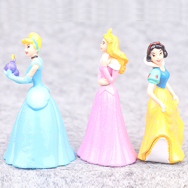 Disney Cartoon Snow White Ariel Cinderella Belle Tinkerbell 6pcs/Set 8cm