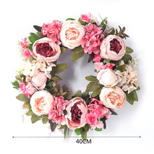 Artificial Peony Flower Wreath Simulation Silk Cloth Green Leaves Front Door Wedding Home Wall Hanging Decoration
