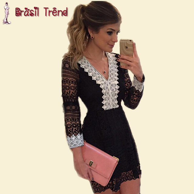 2015 Women Summer Dress Lace Chiffon Party Dresses V-neck Summer Style Black Sexy Mini  fashion Casual  Vestidos Brasil Trend