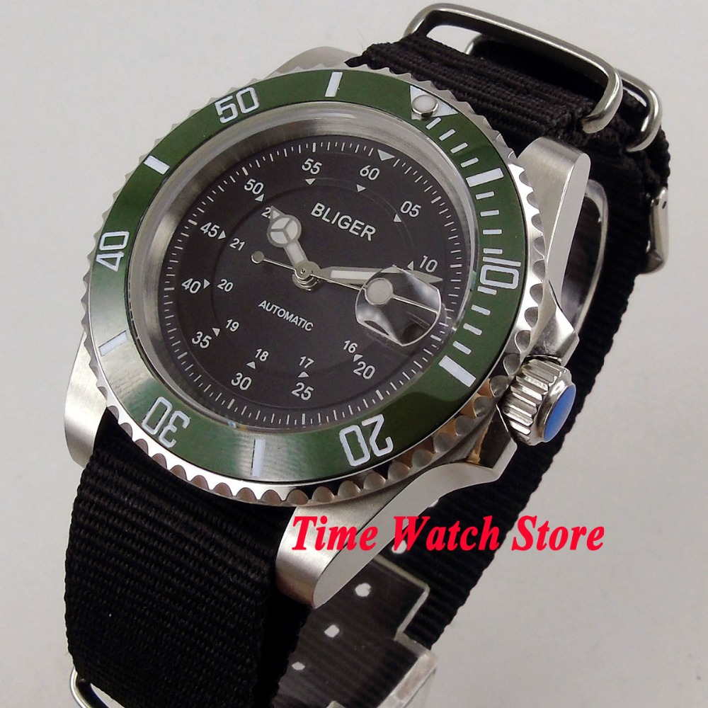 Luxury 40mm BLIGER men's watch black dial luminous saphire glass green ceramic bezel Automatic movement watch men 138