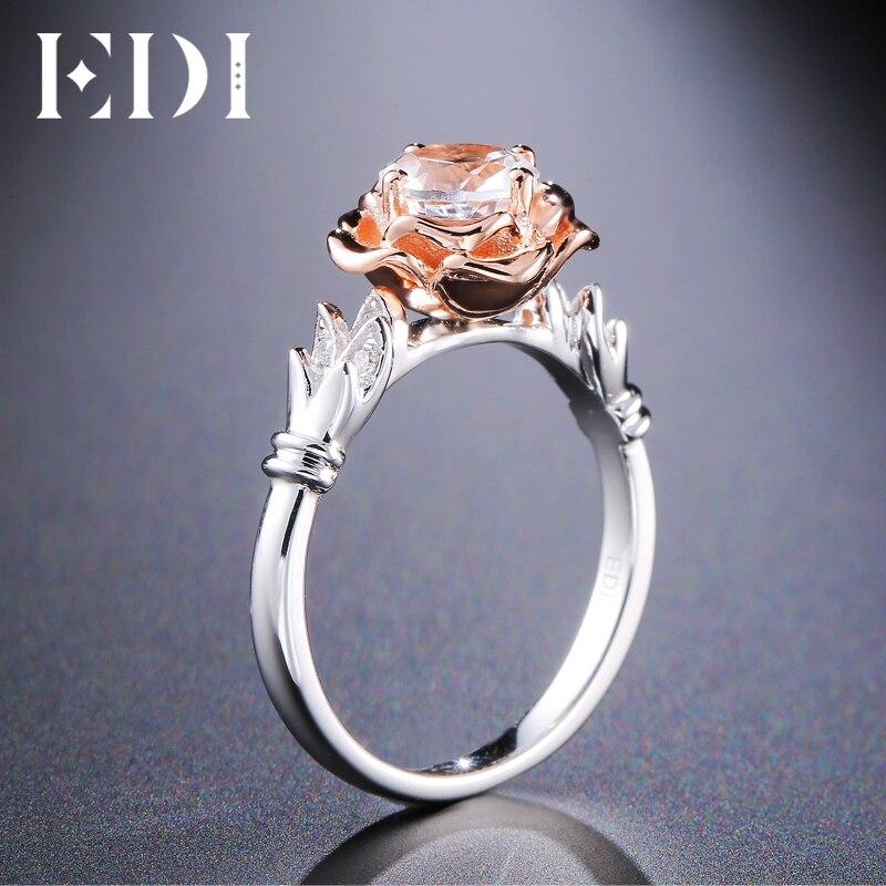 EDI Luxo Flor Rodada Moissanite (D-F VVS1) anéis 14 k Rose Bandas De Noivado de Casamento Do Ouro Branco Para As Mulheres Finas Jóias