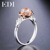 EDI fleur de luxe rond Moissanite (D-F VVS1) anneaux 14 K or blanc Rose bandes de fiançailles de mariage pour les femmes bijoux fins