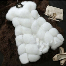 5XL 4XL Plus Size Winter Warm Faux Fox Fur Vest Women Long Cardigan Female Sleeveless Coat White Black Pink Grey Red Green