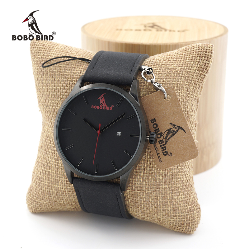 BOBO BIRD Multfunction Calendar Watch Wooden Watches for Men Japanese 2035 Movement Quartz Watches with Leather Band