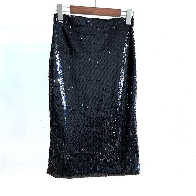 U-SWEAR Sexy lentejuelas lápiz Falda Mujer Bodycon cremallera brillo Falda Mujer paquete Hip Club faldas negro lentejuelas fiesta faldas