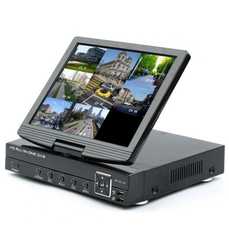 4ch 3-in-1 Analog AHD Digital Video Recorder (DVR) and ONVIF IP 720P Network Video Recorder (NVR) with 10.1 Inch TFT LCD Screen