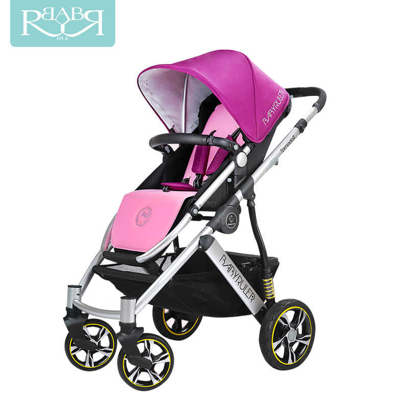 Babyruler Baby Stroller Can Sit and Lie, Light High Landscape BB carriage Folding Portable Shock Absorber, Child Cart