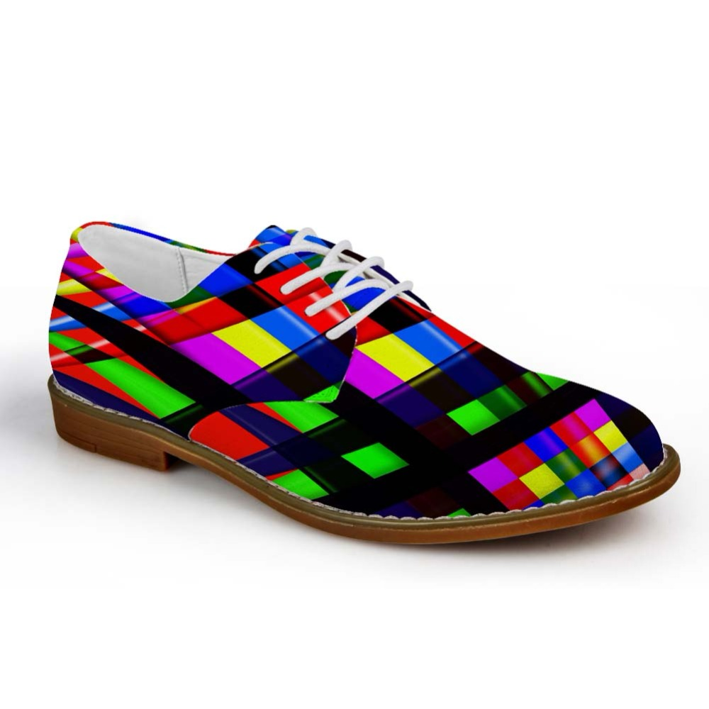 Noisydesigns Casual Oxfords Shoes Men Colorful Geometric Pattern Print Leather PU Business Dress Shoe Lace Up Loafers Leisure