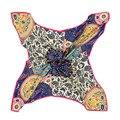Настоящее саржевого шелковый шарф для женщин италия ретро королевский цветок платок девушки большой площади платок Hot 100 x 100 см мусульманская