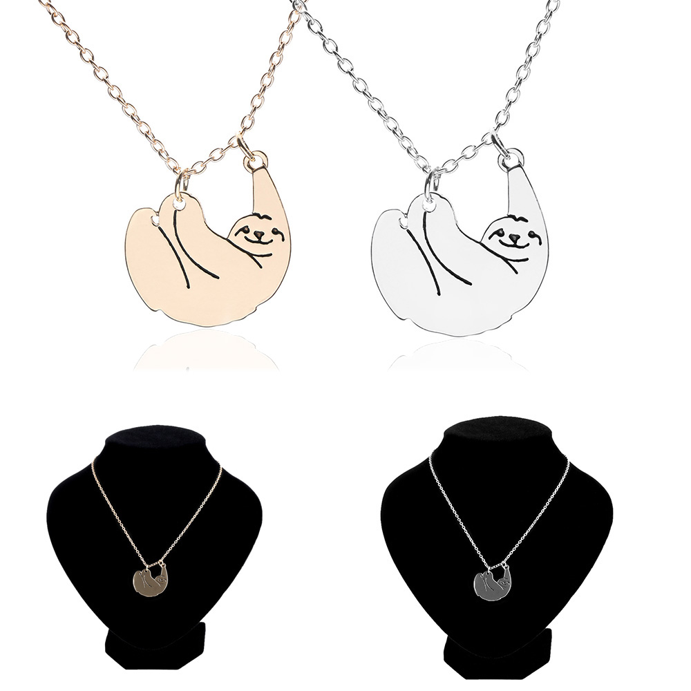 silver women sloth necklaces from animal pendant chain gift pendants necklace plated hot fashion jewelry selling love antique in item sanlan
