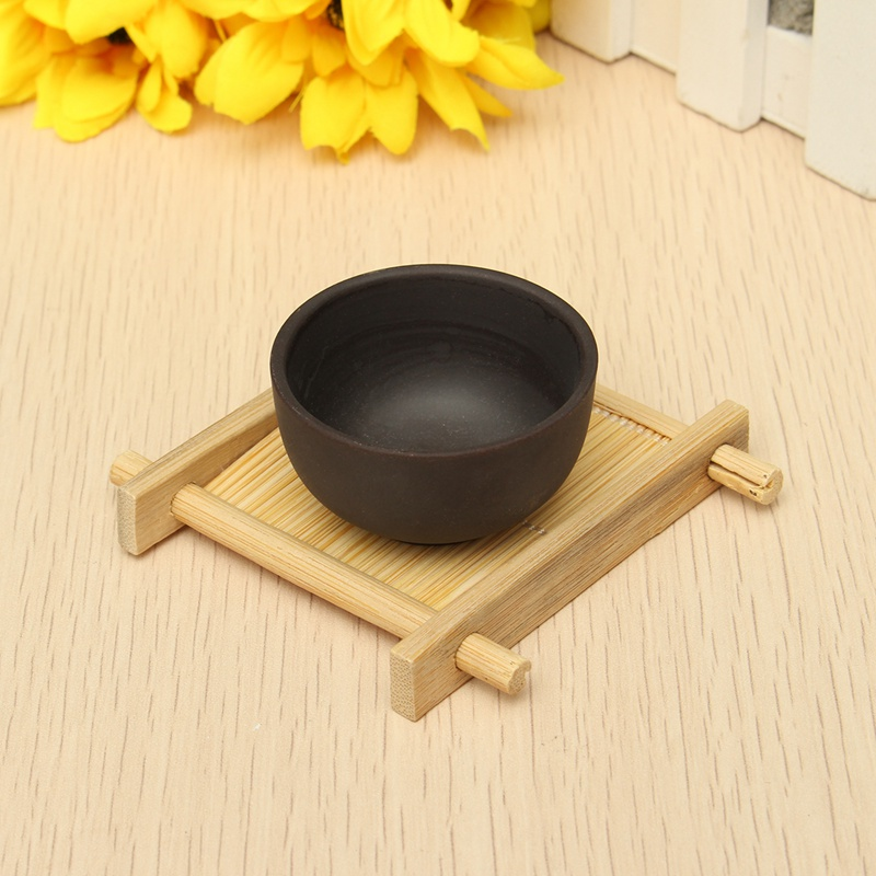 Hot Handmade Bamboo Mini Cup Mat Kung Fu Tea Accessories Table Placemats Coaster Coffee Cups Drinks Mug Pad Drinkware