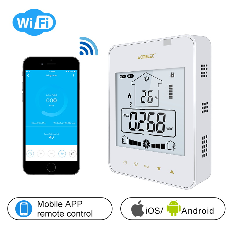 AE-96-XF Touch Button LCD Programmable Indoor Fresh Air System WIFI Controller APP Control