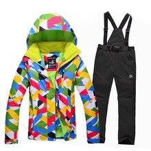 Free shipping 2016 new women ski jacket mountaineering ski suits outdoor sports waterproof windproof warm ski jackets+pants suit