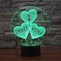 Color 7 que cambia la te amo acrílico 3D Heart luz de noche LED con cargador USB lámpara de mesa para regalo de san valentín