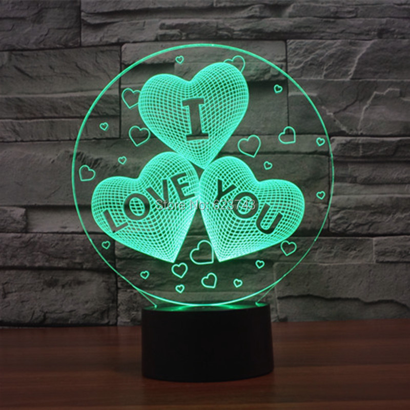Free Shipping 7 Color Changing I LOVE YOU Acrylic 3D Heart LED Night Light With USB Charger Table Lamp For Valentine's Day Gift