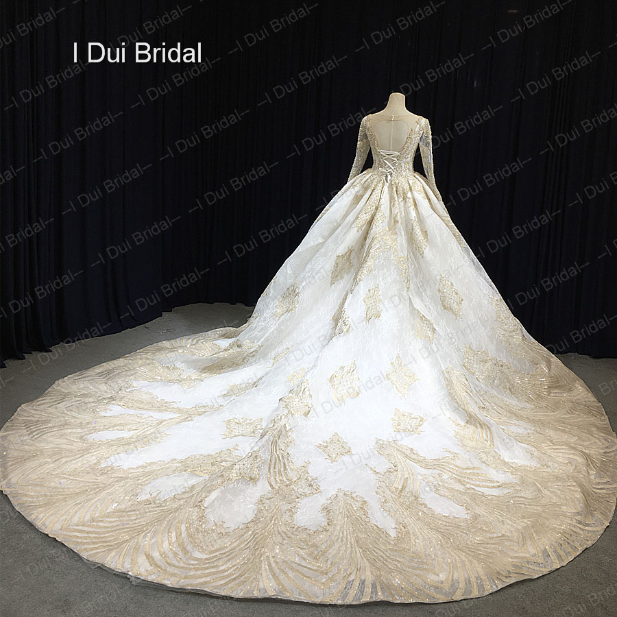 Long Sleeve Golden Lace Ball Gown Wedding Dress Cathedral Train Luxury Dubai Royal Bridal In Dresses From Weddings Events On Aliexpress