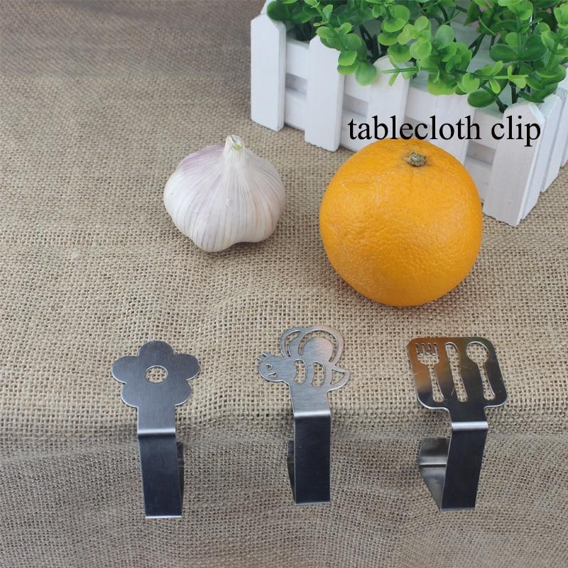 HADELI 4Pcs/Set Tablecloth Clip Stainless Steel Adjustable storage rack flower/honey/tableware attractive design