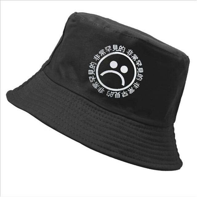 ae954244e5c 1PC Fashion Unisex Flat Fisherman Hat Black Bucket Hat Sad Boy Cry Face  Emoji Men Women Hip Hop Cap Sun Hat