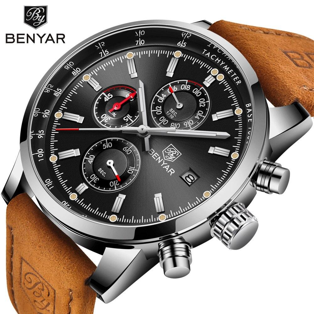 pánské náramkové hodinky debor křemen Francie - Benyar Men Watch Top Brand Luxury Male Leather Quartz Chronograph Military Waterproof Wrist Watch Men Sport Clock relojes hombre